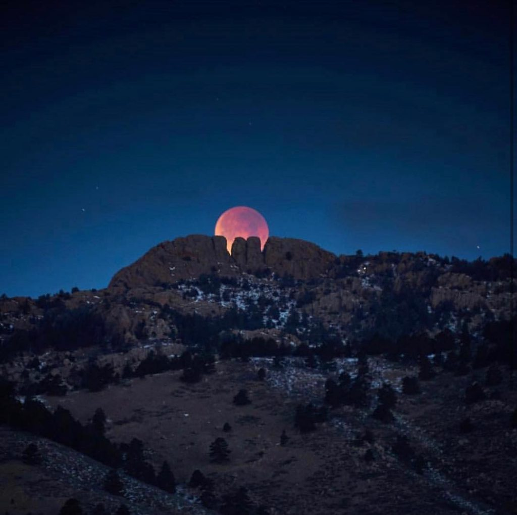 photo of the Moon over The Horsetooth Fort Collins Colorado