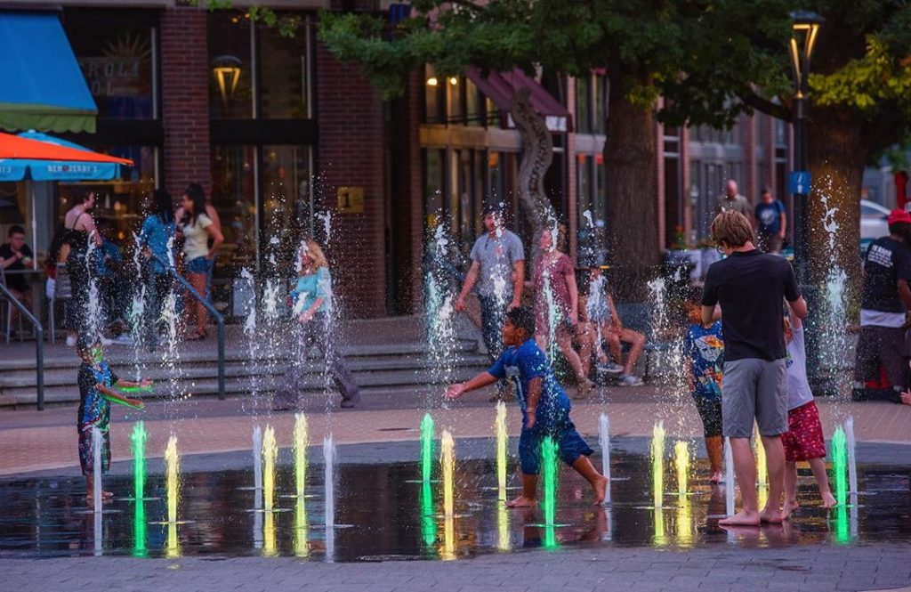 photo of fountains and children playing in Old Town Fort Collins Colorado
