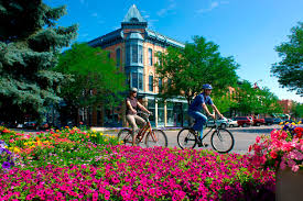 photo of the flower gardens and bicyclists in Fort Collins Colorado